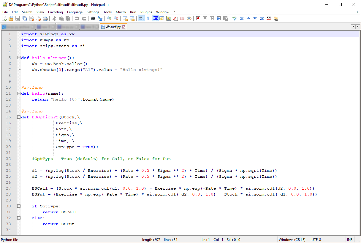 PYTHON and XLWings :: BS model